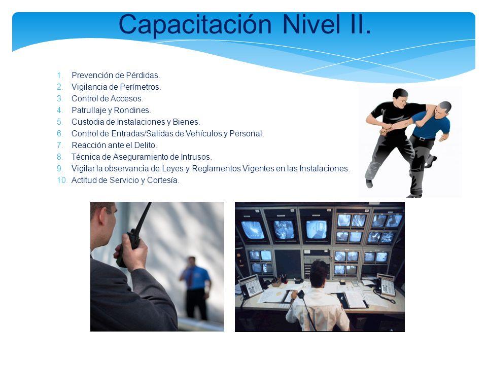 Capacitación Nivel II. 1.Prevención de Pérdidas. 2.Vigilancia de Perímetros. 3.Control de Accesos. 4.Patrullaje y Rondines. 5.Custodia de Instalacione