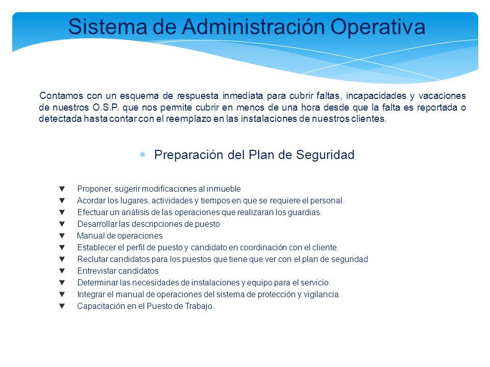 Sistema de Administración Operativa Contamos con un esquema de respuesta inmediata para cubrir faltas, incapacidades y vacaciones de nuestros O.S.P. q
