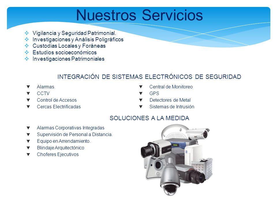 Nuestros Servicios Vigilancia y Seguridad Patrimonial. Investigaciones y Análisis Poligráficos Custodias Locales y Foráneas Estudios socioeconómicos I
