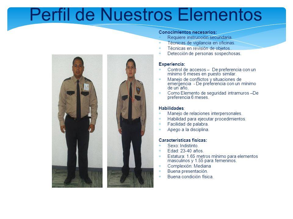 Perfil de Nuestros Elementos Conocimientos necesarios: Requiere instrucción secundaria. Técnicas de vigilancia en oficinas. Técnicas en revisión de ob