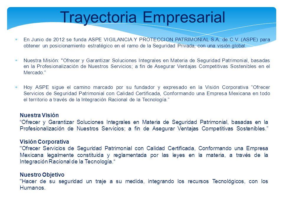 Trayectoria Empresarial En Junio de 2012 se funda ASPE VIGILANCIA Y PROTECCION PATRIMONIAL S.A. de C.V. (ASPE) para obtener un posicionamiento estraté