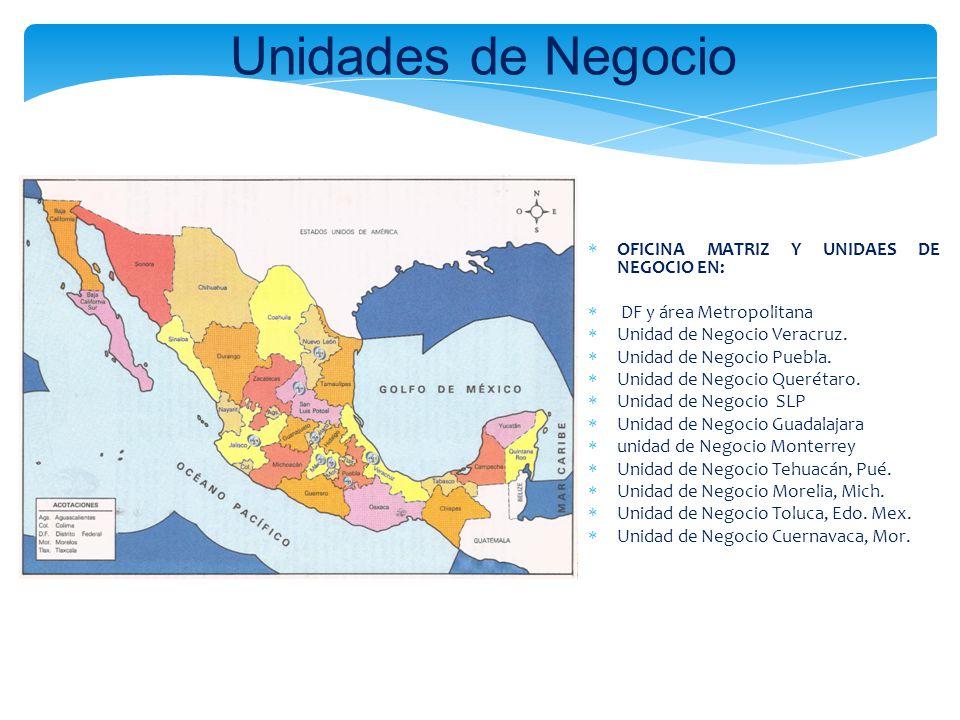 Unidades de Negocio OFICINA MATRIZ Y UNIDAES DE NEGOCIO EN: DF y área Metropolitana Unidad de Negocio Veracruz. Unidad de Negocio Puebla. Unidad de Ne