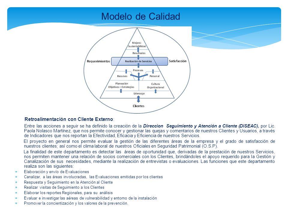 Modelo de Calidad Retroalimentación con Cliente Externo: Entre las acciones a seguir se ha definido la creación de la Direccion Seguimiento y Atención