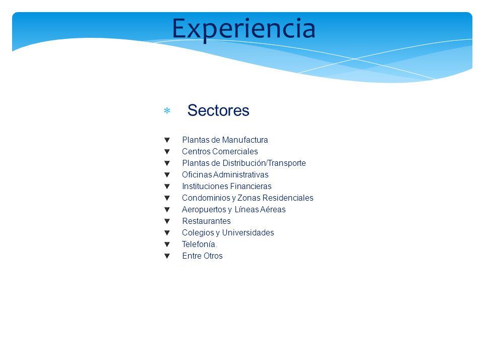 Experiencia Sectores Plantas de Manufactura Centros Comerciales Plantas de Distribución/Transporte Oficinas Administrativas Instituciones Financieras
