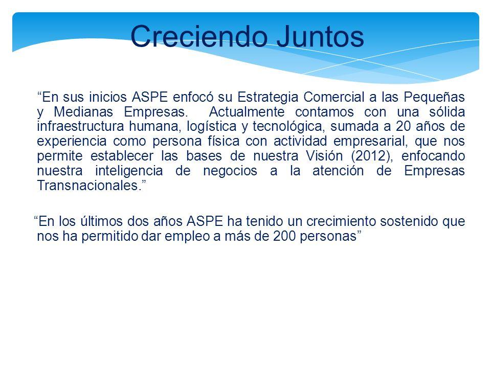 Creciendo Juntos En sus inicios ASPE enfocó su Estrategia Comercial a las Pequeñas y Medianas Empresas. Actualmente contamos con una sólida infraestru