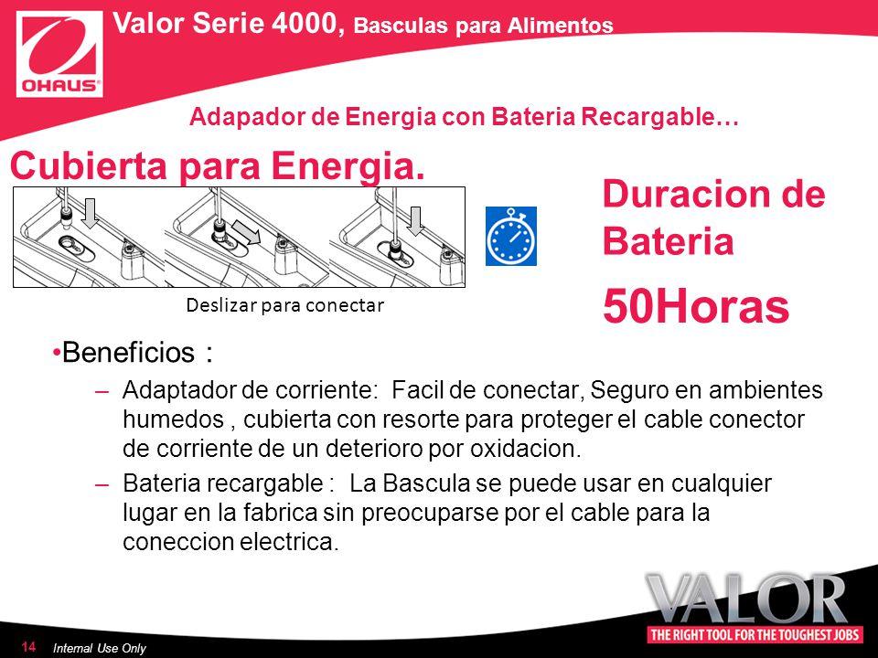 Adapador de Energia con Bateria Recargable…… Beneficios : –Adaptador de corriente: Facil de conectar, Seguro en ambientes humedos, cubierta con resorte para proteger el cable conector de corriente de un deterioro por oxidacion.