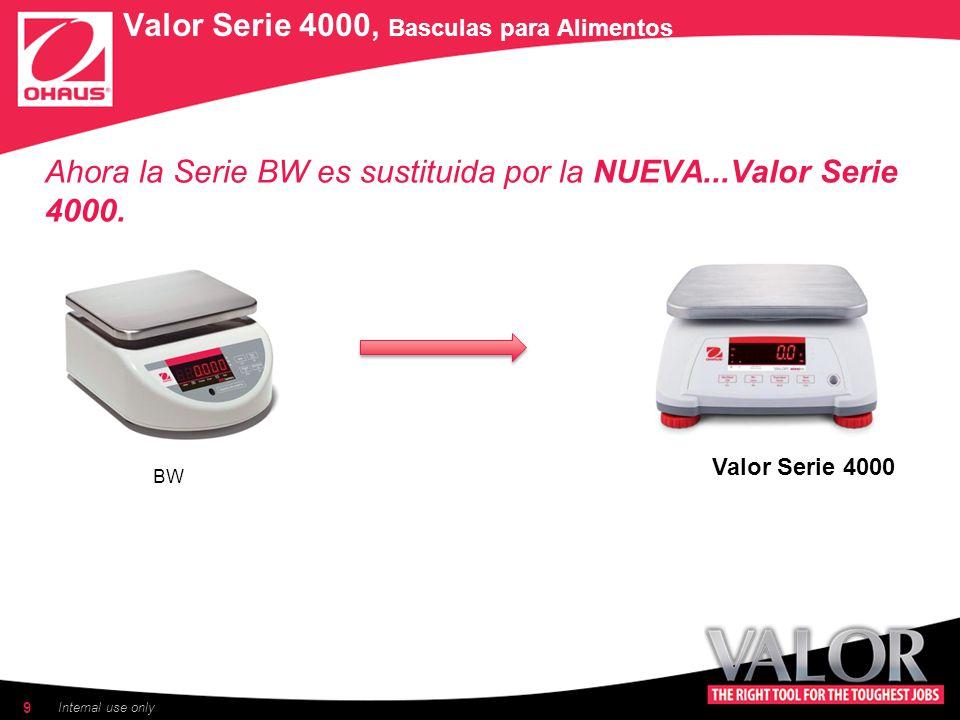 9 Internal use only Ahora la Serie BW es sustituida por la NUEVA...Valor Serie 4000.