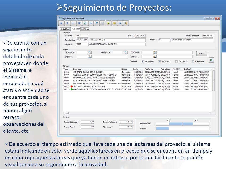 Seguimiento de Proyectos: Seguimiento de Proyectos: Se cuenta con un seguimiento detallado de cada proyecto, en donde el Sistema le indicará al emplea