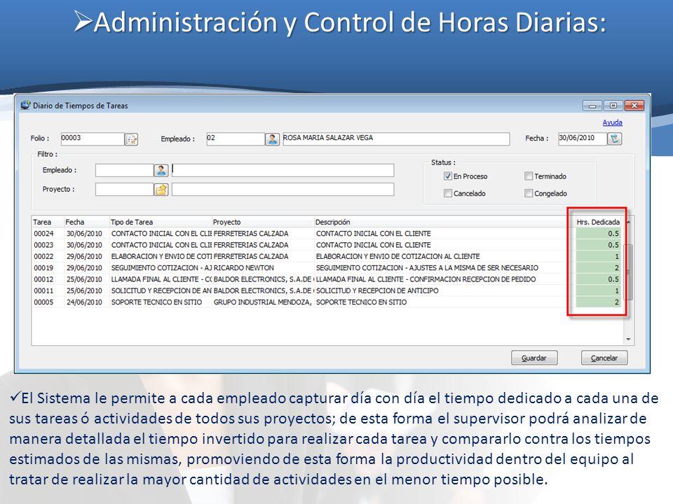 Administración y Control de Horas Diarias: Administración y Control de Horas Diarias: El Sistema le permite a cada empleado capturar día con día el ti