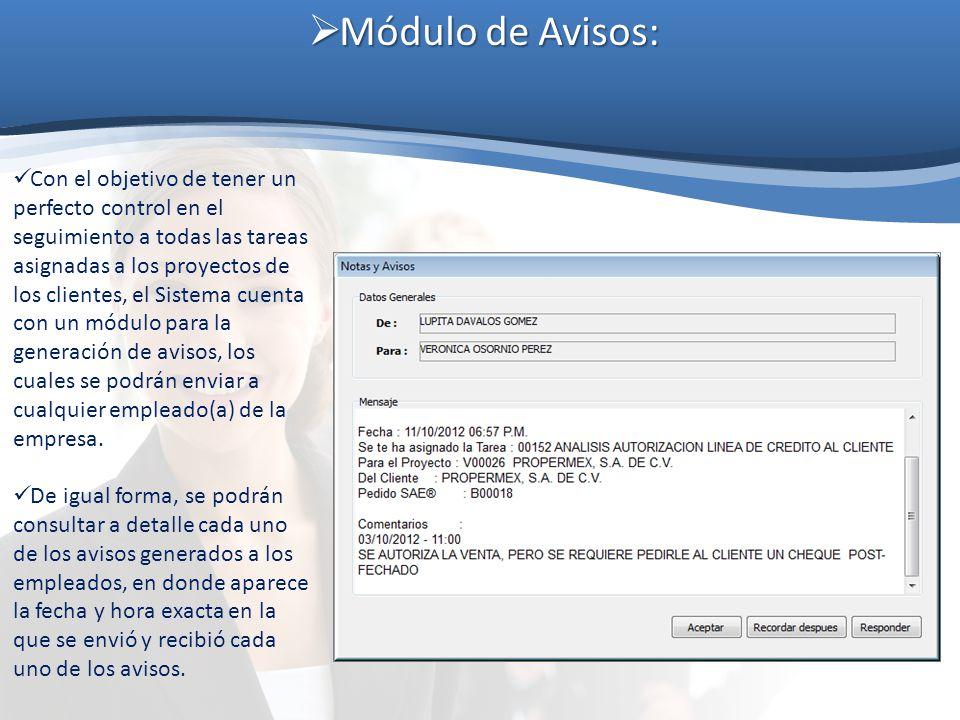 Módulo de Avisos: Módulo de Avisos: Con el objetivo de tener un perfecto control en el seguimiento a todas las tareas asignadas a los proyectos de los