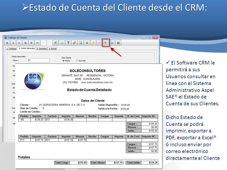 Estado de Cuenta del Cliente desde el CRM: Estado de Cuenta del Cliente desde el CRM: El Software CRM le permitirá a sus Usuarios consultar en línea c