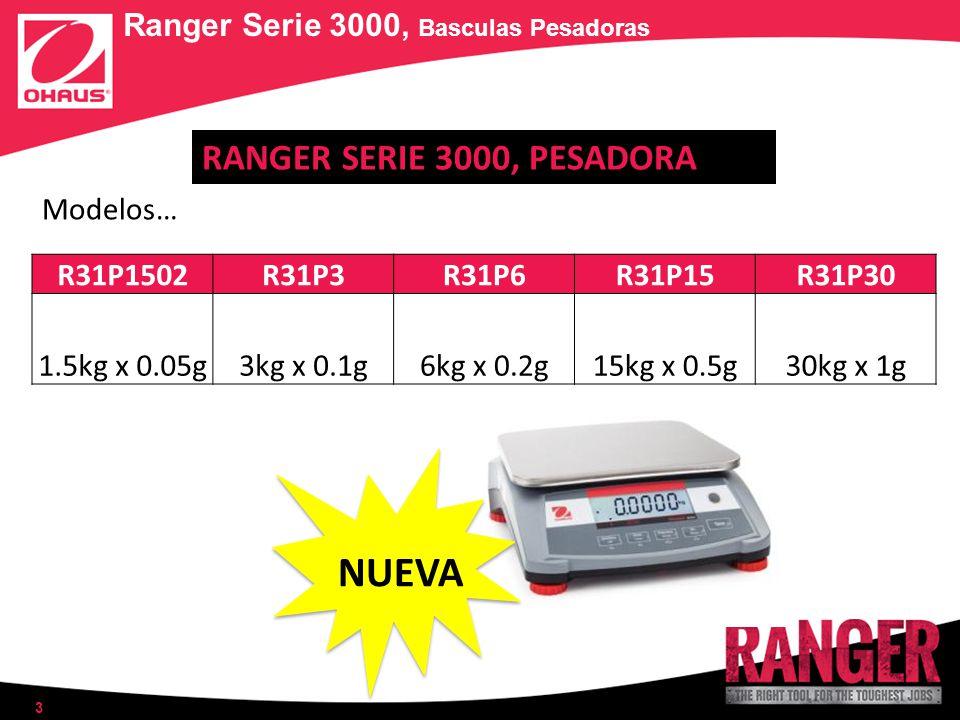 3 R31P1502R31P3R31P6R31P15R31P30 1.5kg x 0.05g3kg x 0.1g6kg x 0.2g15kg x 0.5g30kg x 1g Ranger Serie 3000, Basculas Pesadoras Modelos… RANGER SERIE 300