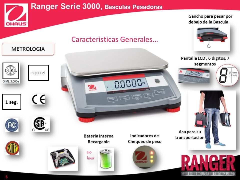 6 METROLOGIAMETROLOGIA 30,000d 1 seg. Ranger Serie 3000, Basculas Pesadoras Caracteristicas Generales… Bateria Interna Recargable Gancho para pesar po