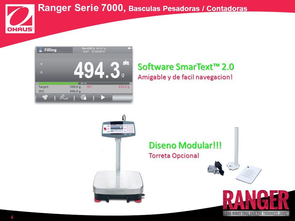 4 Ranger Serie 7000, Basculas Pesadoras / Contadoras Software SmarText 2.0 Amigable y de facil navegacion! Diseno Modular!!! Torreta Opcional