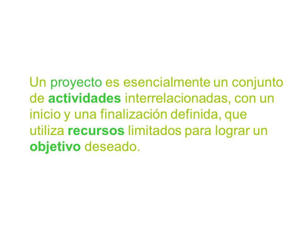 Un proyecto es esencialmente un conjunto de actividades interrelacionadas, con un inicio y una finalización definida, que utiliza recursos limitados p