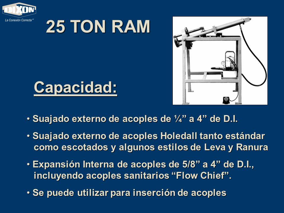 25 TON RAM Capacidad: Suajado externo de acoples de ¼ a 4 de D.I.