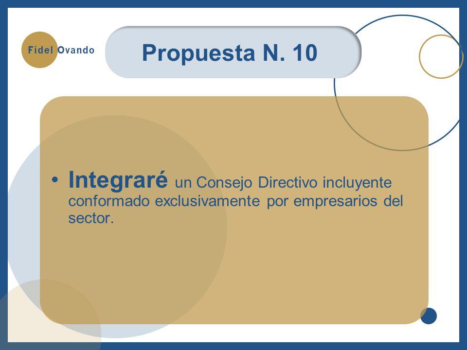 Integraré un Consejo Directivo incluyente conformado exclusivamente por empresarios del sector.