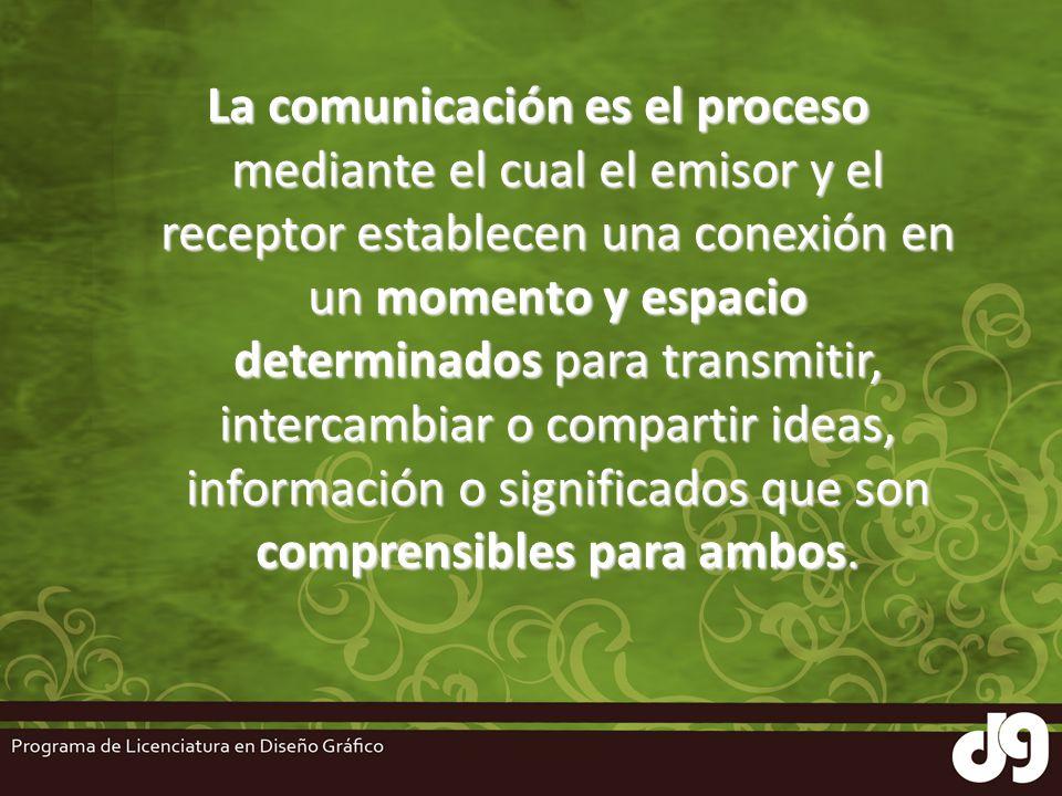 La comunicación es el proceso mediante el cual el emisor y el receptor establecen una conexión en un momento y espacio determinados para transmitir, i