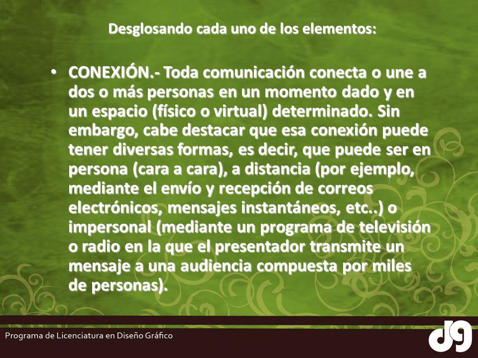 Desglosando cada uno de los elementos: CONEXIÓN.- Toda comunicación conecta o une a dos o más personas en un momento dado y en un espacio (físico o vi