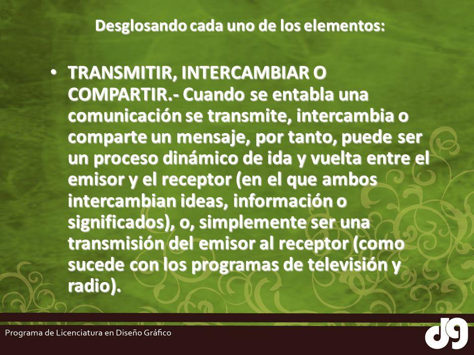 Desglosando cada uno de los elementos: TRANSMITIR, INTERCAMBIAR O COMPARTIR.- Cuando se entabla una comunicación se transmite, intercambia o comparte