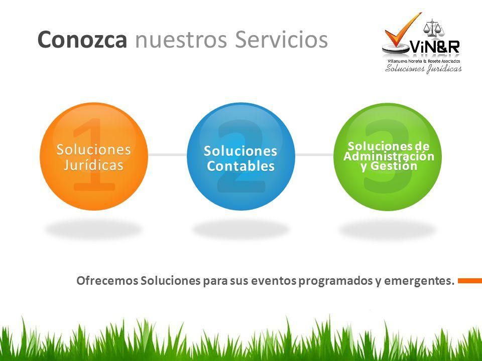 Conozca nuestros Servicios Ofrecemos Soluciones para sus eventos programados y emergentes. 1 Soluciones Jurídicas 2 Soluciones Contables 3 Soluciones