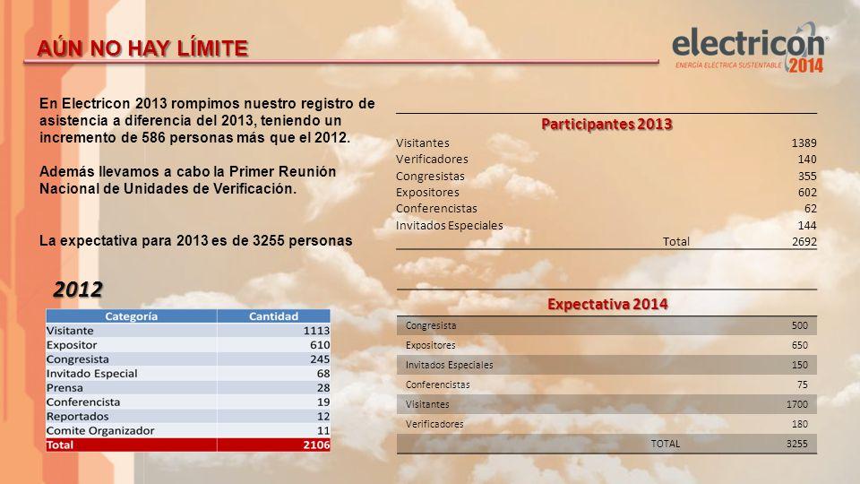 Electricon 2013, rompiendo record de asistencia.Los verificadores y Congresistas suman 18%.