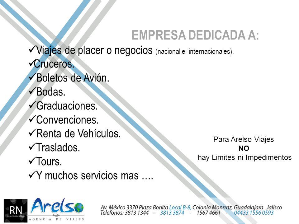 EMPRESA DEDICADA A: Viajes de placer o negocios (nacional e internacionales).