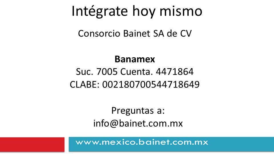 Intégrate hoy mismo Consorcio Bainet SA de CV Banamex Suc.