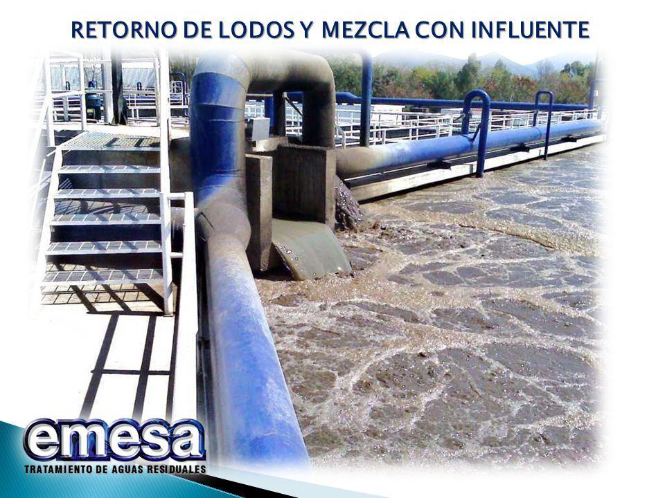 RETORNO DE LODOS Y MEZCLA CON INFLUENTE