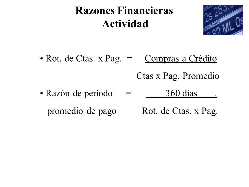 Rot. de Ctas. x Pag. = Compras a Crédito Ctas x Pag. Promedio Razón de período = 360 días. promedio de pago Rot. de Ctas. x Pag. Razones Financieras A