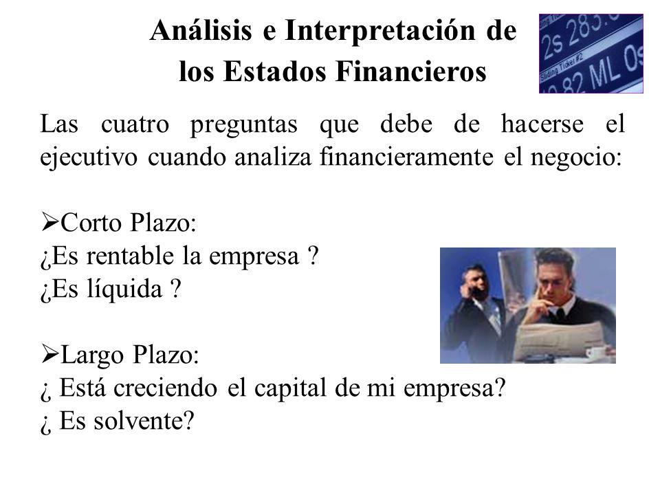 Las cuatro preguntas que debe de hacerse el ejecutivo cuando analiza financieramente el negocio: Corto Plazo: ¿Es rentable la empresa ? ¿Es líquida ?