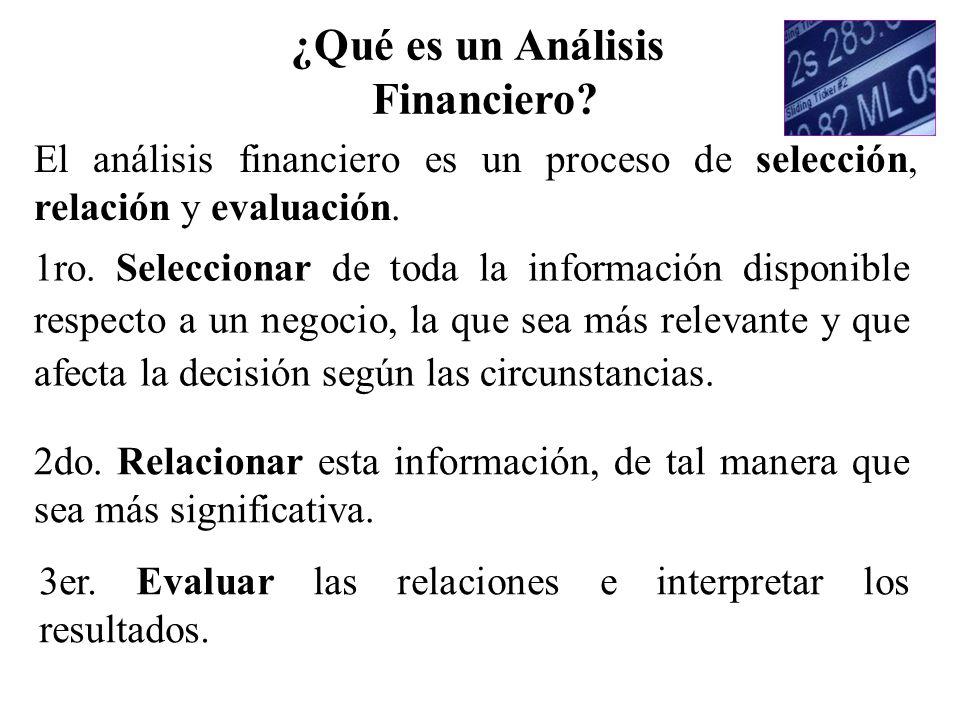 El análisis financiero es un proceso de selección, relación y evaluación. 1ro. Seleccionar de toda la información disponible respecto a un negocio, la