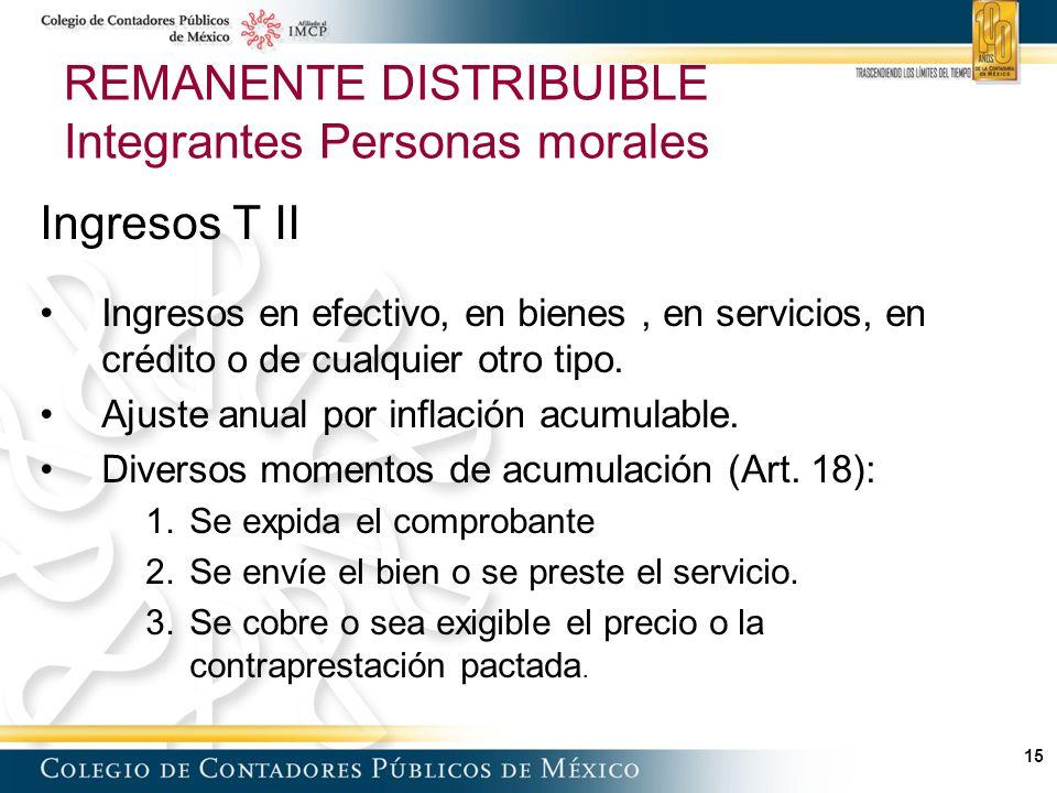 15 REMANENTE DISTRIBUIBLE Integrantes Personas morales Ingresos T II Ingresos en efectivo, en bienes, en servicios, en crédito o de cualquier otro tipo.