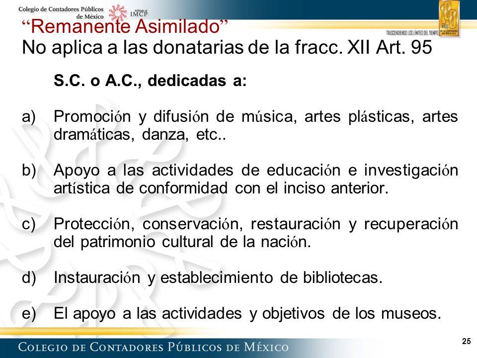 25 Remanente Asimilado No aplica a las donatarias de la fracc.