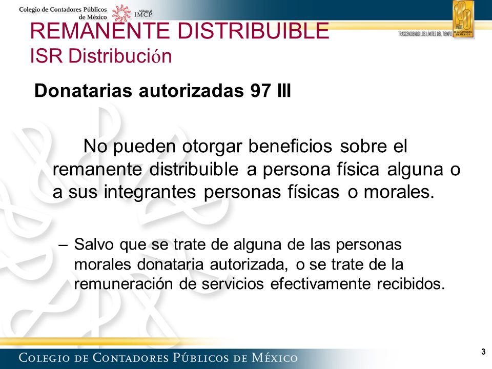 24 Remanente distribuible Conceptos asimilados Articulo 95 Determinación del ISR en Conceptos Asimilados Monto del remanente distribuible asimilable Por Tasa de ISR (tasa máxima Art.