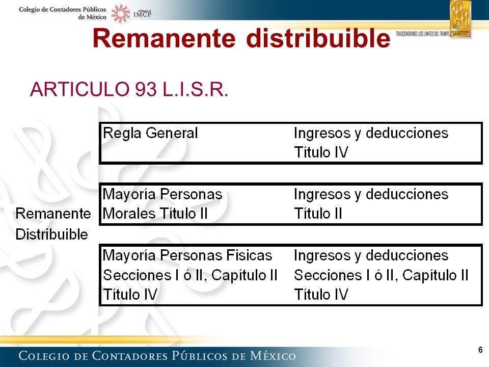 7 Remanente distribuible (Regla general – Título IV) Ingresos obtenidos en el año Menos: Ingresos exentos (Art.