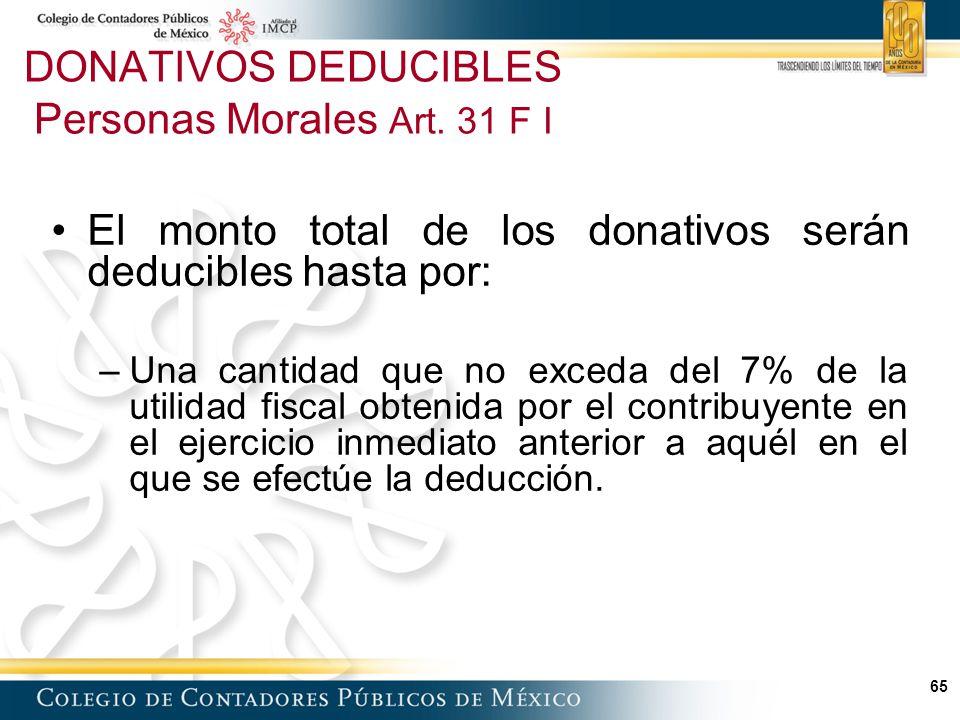 65 El monto total de los donativos serán deducibles hasta por: –Una cantidad que no exceda del 7% de la utilidad fiscal obtenida por el contribuyente en el ejercicio inmediato anterior a aquél en el que se efectúe la deducción.