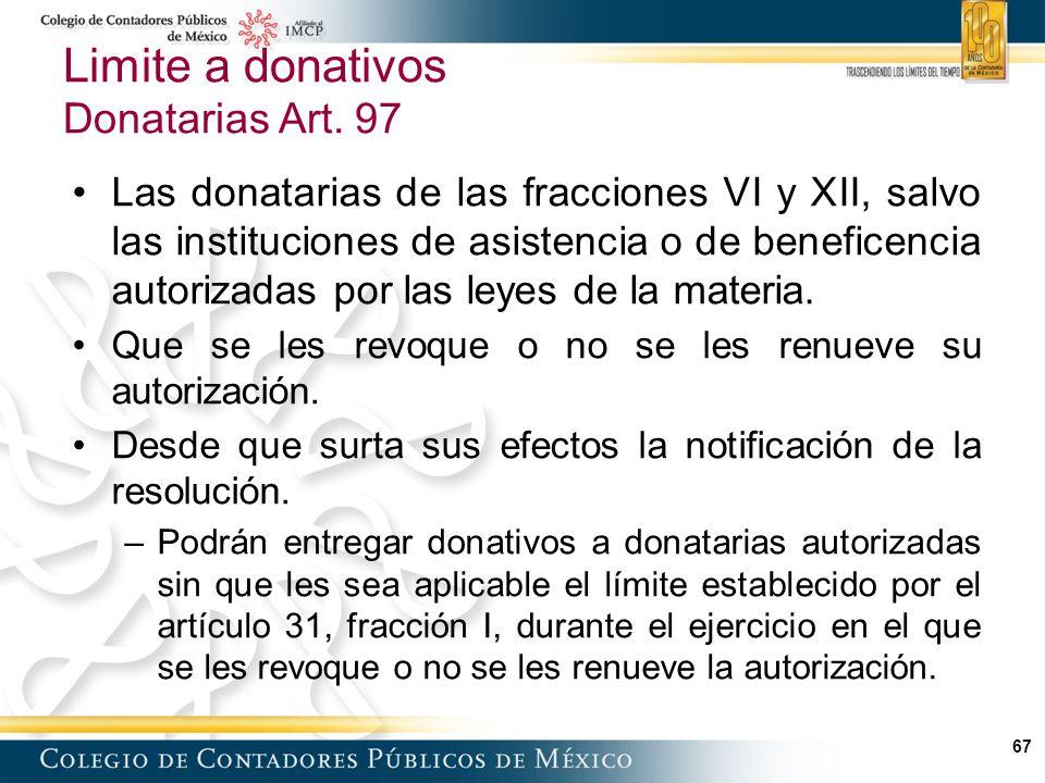 67 Limite a donativos Donatarias Art.