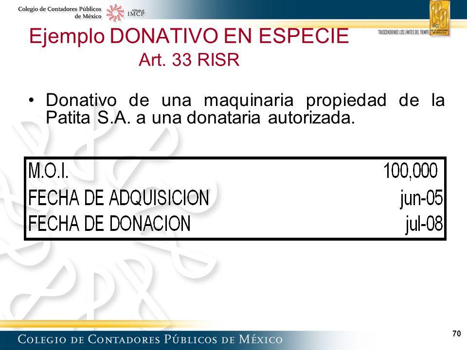 70 Ejemplo DONATIVO EN ESPECIE Art.33 RISR Donativo de una maquinaria propiedad de la Patita S.A.
