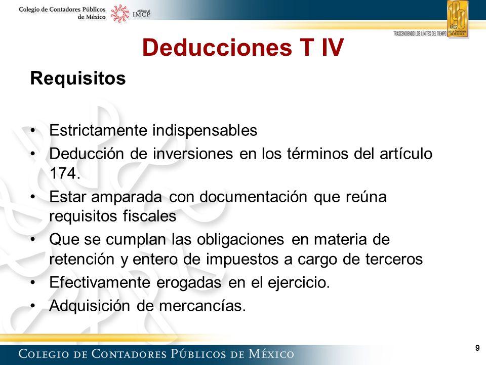 9 Deducciones T IV Requisitos Estrictamente indispensables Deducción de inversiones en los términos del artículo 174.