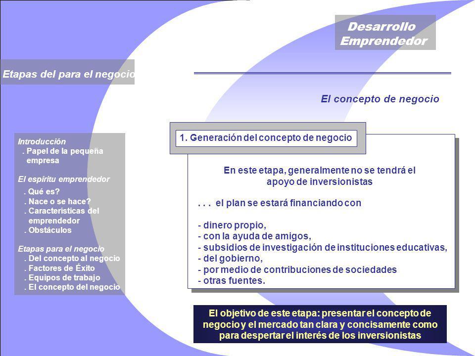 Desarrollo Emprendedor El objetivo de este etapa: presentar el concepto de negocio y el mercado tan clara y concisamente como para despertar el interés de los inversionistas 1.
