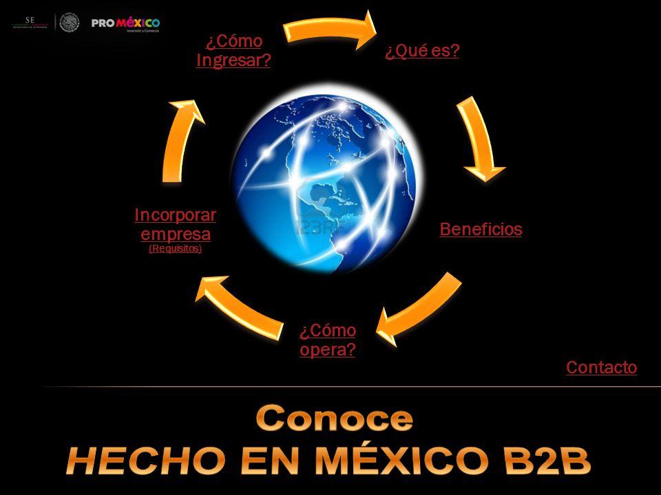 Es una plataforma de promoción internacional para facilitar la compra- venta de productos y servicios mexicanos.
