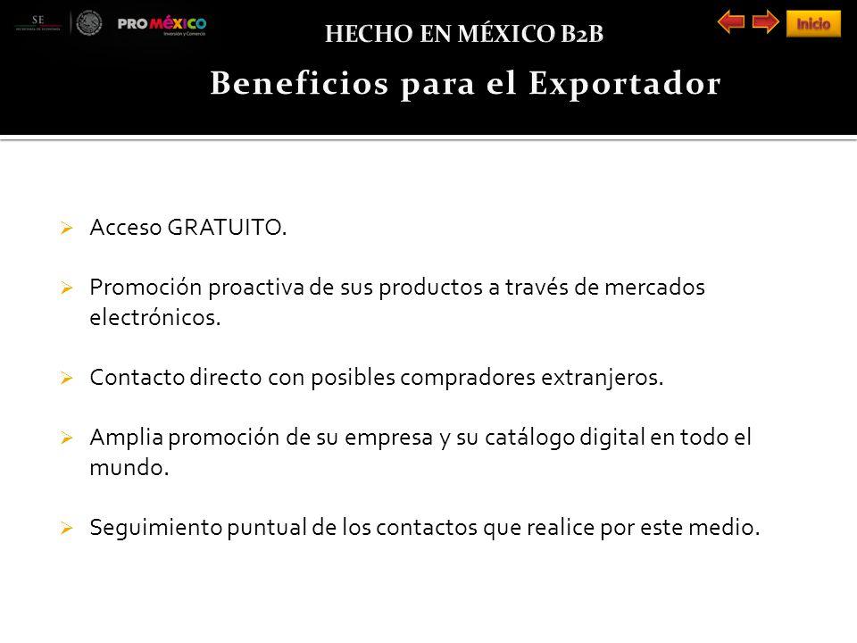 Acceso GRATUITO. Promoción proactiva de sus productos a través de mercados electrónicos.