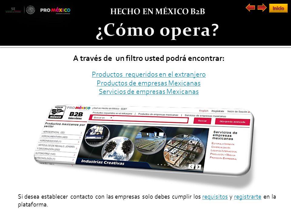 A través de un filtro usted podrá encontrar: Productos requeridos en el extranjero Productos de empresas Mexicanas Servicios de empresas Mexicanas Si desea establecer contacto con las empresas solo debes cumplir los requisitos y registrarte en la plataforma.requisitosregistrarte