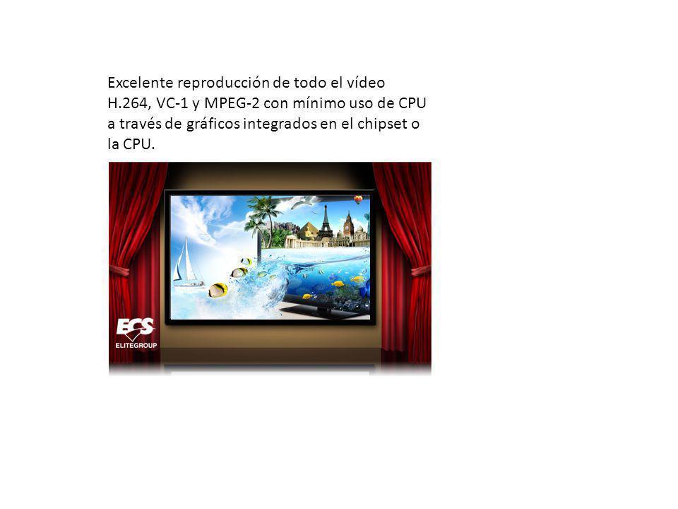 Excelente reproducción de todo el vídeo H.264, VC-1 y MPEG-2 con mínimo uso de CPU a través de gráficos integrados en el chipset o la CPU.