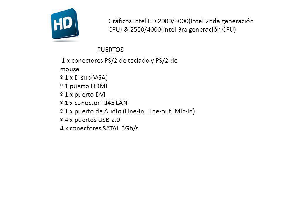 Gráficos Intel HD 2000/3000(Intel 2nda generación CPU) & 2500/4000(Intel 3ra generación CPU) PUERTOS 1 x conectores PS/2 de teclado y PS/2 de mouse º 1 x D-sub(VGA) º 1 puerto HDMI º 1 x puerto DVI º 1 x conector RJ45 LAN º 1 x puerto de Audio (Line-in, Line-out, Mic-in) º 4 x puertos USB 2.0 4 x conectores SATAII 3Gb/s