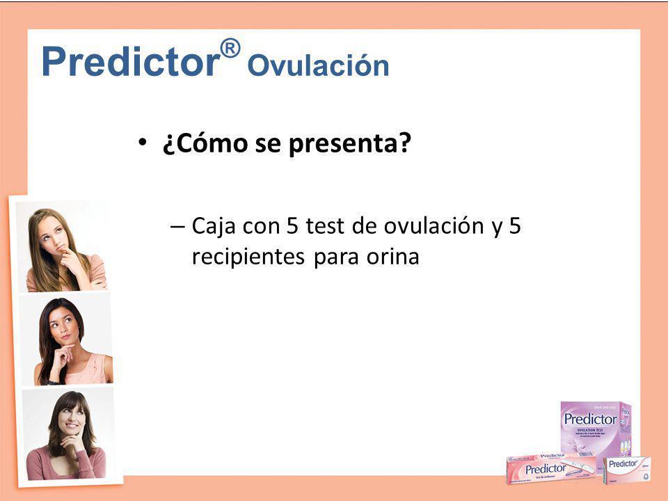 Predictor ® Ovulación ¿Cómo se presenta? – Caja con 5 test de ovulación y 5 recipientes para orina