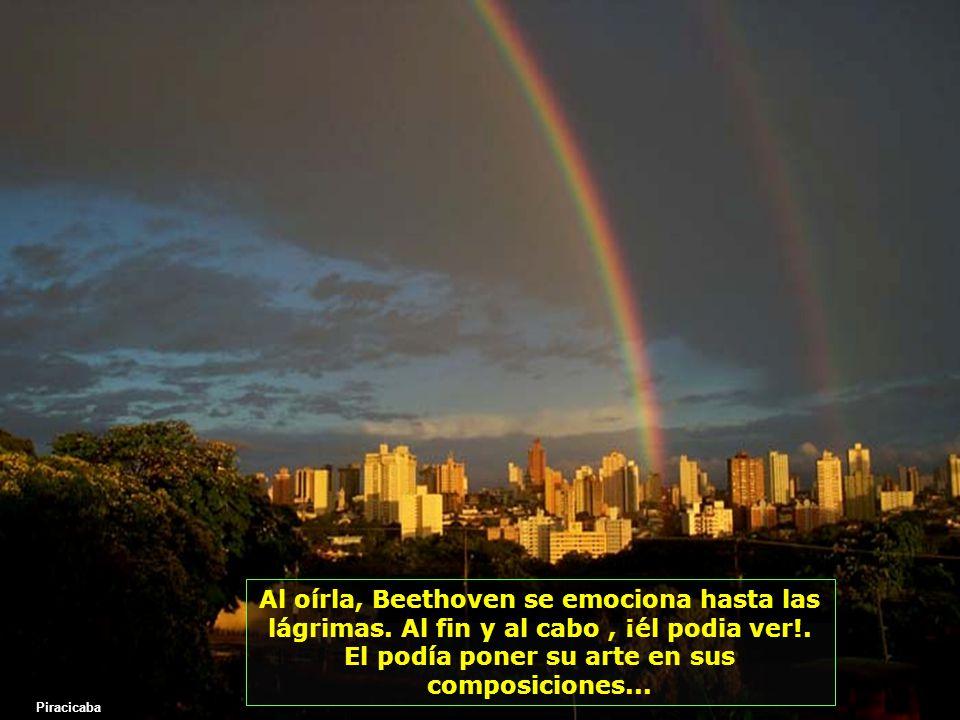 Pero como ningún hijo de Dios está olvidado, llegó la ayuda espiritual, a través de una muchacha ciega, que vivía en la misma modesta pensión, donde Beethoven se había mudado, y que le dijo casi gritando: Yo daría todo por poder ver una noche de luna Piracicaba
