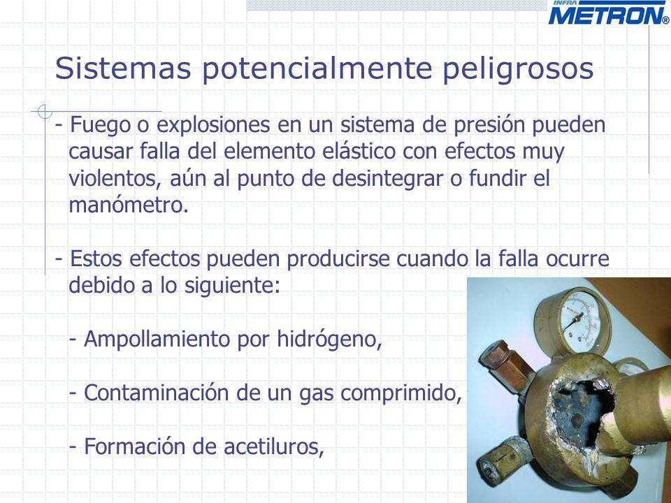 Sistemas potencialmente peligrosos - Fuego o explosiones en un sistema de presión pueden causar falla del elemento elástico con efectos muy violentos,