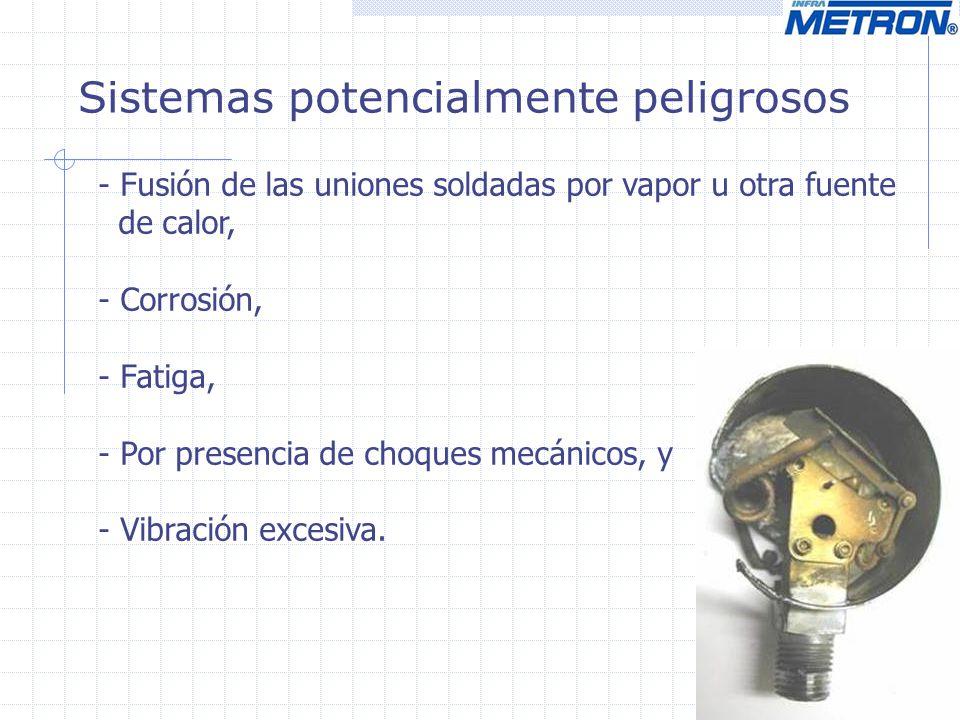 Sistemas potencialmente peligrosos - Fusión de las uniones soldadas por vapor u otra fuente de calor, - Corrosión, - Fatiga, - Por presencia de choque